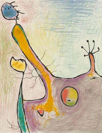 Joan Miró Donna, 1938 Matita colorata, pastello, inchiostro di china e guazzo su carta, cm 41 x 33 Collezione privata © Successió Miró by SIAE 2016