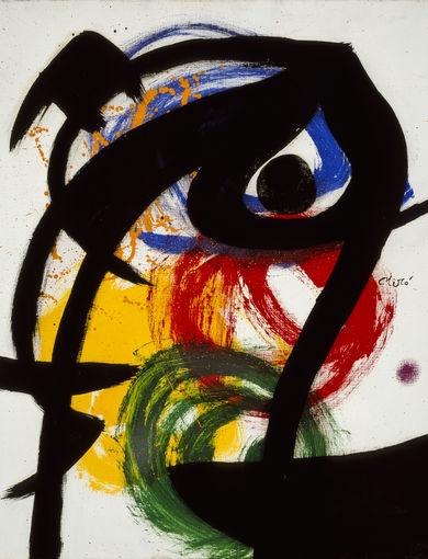 Joan Miró Personaggio, uccello II, 1973 Olio su tela, 65 x 54 cm Collezione privata © Successió Miró by SIAE 2016
