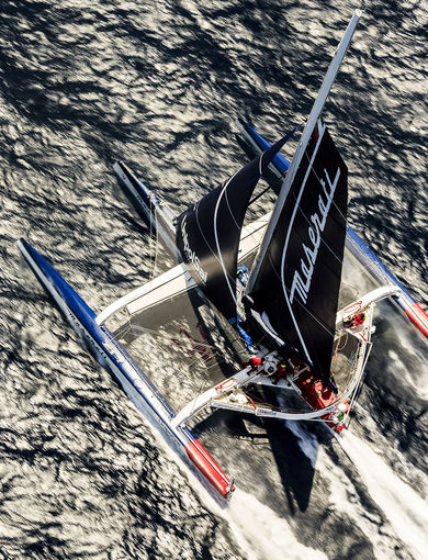MOD 70 Maserati skippered by Giovanni Soldini shot offshore Porquerolles island during training. Photo Guilain Grenier